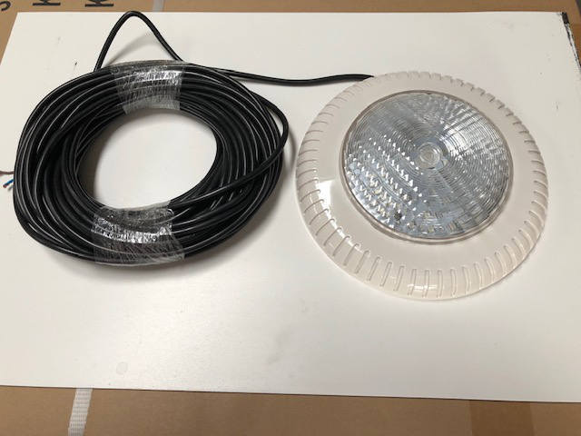 Slim Pool Light 12Vac, 20m lead, White Surround, Fibreglass Bracket